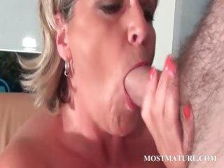 cougar so impressive mom adores to sucks penis