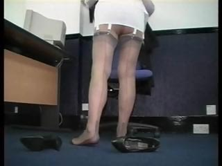 older secretary enjoys inside corsets and