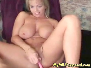 busty shaved mature girl with vibrator playing