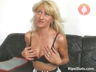 extremely awesome grown-up blonde takes wet pussy