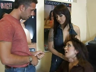 shocking bleached woman with big chest taking