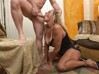sluty blonde momma inside brown lingerie doing