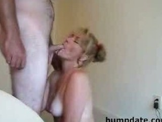 sexy milf gives a nice blowjob and takes facial