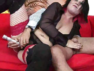 desperate mature babe being arse gang-banged by