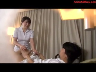 grown-up masseuse watching jerking male licked