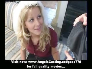 amateur charming blond bride delightful talking