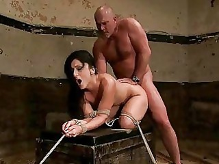 grown-up male ties awesome brunette and dominates