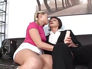 albino young and brunette momma masturbating with