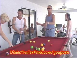 trailer trash swimmingpool shooting with woman