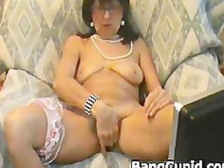naughty older girl showing and enjoying