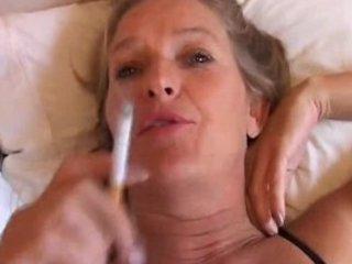 grown-up lady likes a smoke and a wank