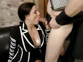 mature german brunette licks his libido and takes