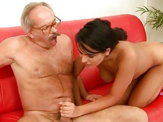 charming male piercing with naughty grandpa