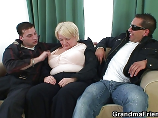 awesome threesome with horny granny