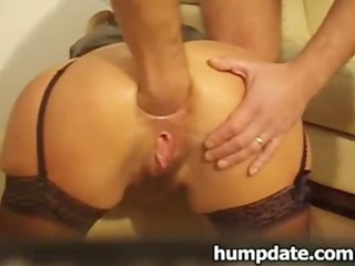 housewife takes a bottle and finger inside her