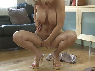 sensual albino momma with big boobs in heels