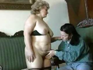 fat, bleached granny gets licked, blows, and