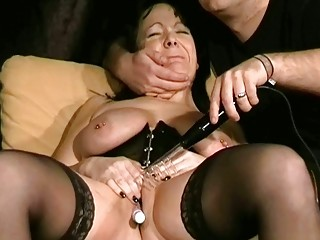 cougar bdsm and electro pain of european slaveslut