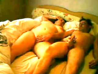 grownup couple pushing dildo into hotel quarters