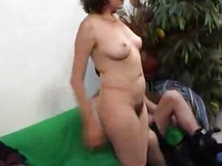older hirsute woman licking and gangbanging