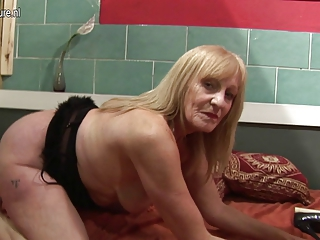 young slut grandmother masturbating with her