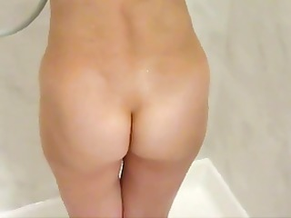 shy babe caught into bathroom