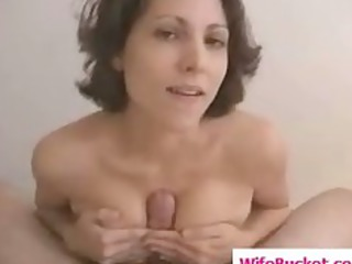 naughty housewife gives a titjob