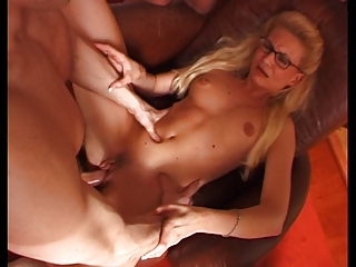 french milf with glasses into gang bang gathering