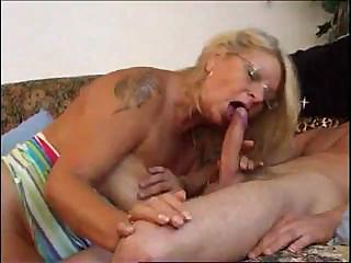 granny teaces amateur to joys of tough and cock