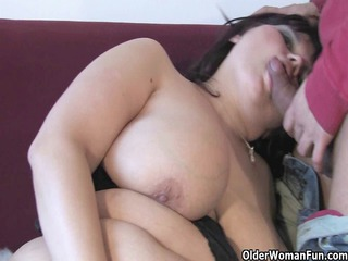 elderly bbw with big chest sucks and copulates