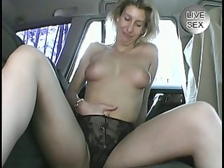 mature inexperienced pleases herself into a car
