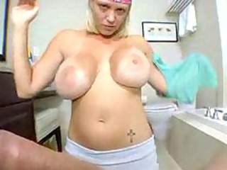 super belle cleans the house and drains the cum