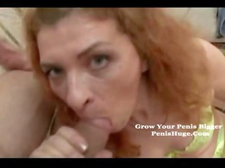 fresh redhaired grandma eats his penis and next