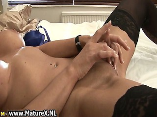 slutty cougar chick in brown nylons