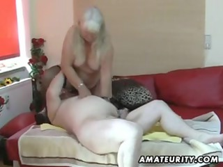 big non-professional wife sucks and bonks on her