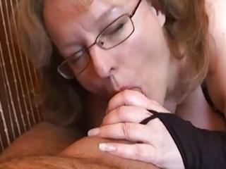 busty inexperienced lady handjob and fellatio